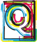 Colorful Grunge Font LETTER Q — Stock Vector