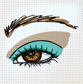 Female eye sketch illustration — ストックベクタ