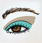 Female eye sketch illustration — Cтоковый вектор