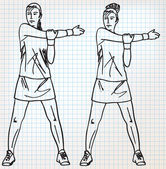 Stretching exercises sketch illustration — Stockvektor