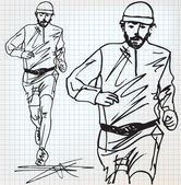 Male runner sketch illustration — ストックベクタ