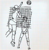 Girls playing volleyball sketch illustration — Stock Vector