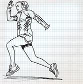 Female runner sketch illustration — Cтоковый вектор