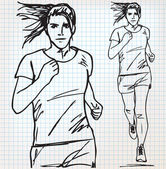 Female runner sketch illustration — Stock Vector