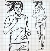 Female runner sketch illustration — Stock Vector
