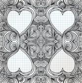 Ornate heart sketch — Cтоковый вектор