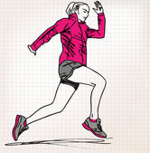 Female runner sketch illustration — Wektor stockowy