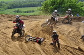 Accident in moto racing — Stock Photo