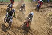 Accidente en el campeonato ruso motocross motos y cuatriciclos — Foto de Stock