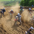 Accident on the Russian Championship of Motocross among motorcycles and ATVs — Foto Stock