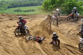 Crash on the Russian Championship of Motocross among motorcycles and ATVs — Stock Photo