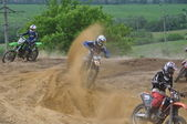 Accident on the Russian Championship of Motocross among motorcycles and ATVs — Stock Photo