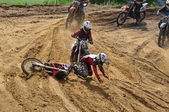 Crash on the Russian championship trophy raid among ATVs and motorcycles — Stock Photo
