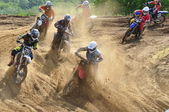 Accident on the Russian Championship of Motocross among motorcycles and ATVs — Zdjęcie stockowe