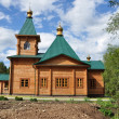 Modern Russian wooden church — Stock Photo