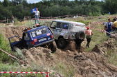Accident on the Russian championship trophy and cross-country raid among SUVs, ATVs and motorcycles — Stock Photo