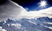 Sun on the top of the Matterhorn mountain — Stock Photo