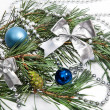 Christmas decorations with blue balls and silver beads — Stock Photo