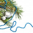 Stock Photo: Christmas decorations with silver balls and blue beads