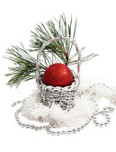 Christmas basket decoration with red ball — Stock Photo