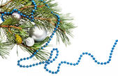 Christmas decorations with silver balls and blue beads — Stock Photo