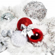 Christmas red and silver decorations on white — Foto Stock