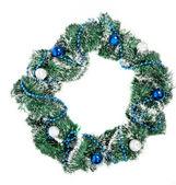 Corona di natale con decorazioni blue e argento — Foto Stock