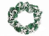 銀の装飾とクリスマスの花輪 — ストック写真