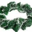 Green Christmas tinsel wreath — Stock Photo