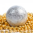 Silver ball with golden beads — Stock Photo