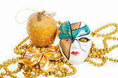 Blue and golden holiday mask with decorations — Stock Photo