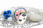 Mask with silver beads and blue balls — Stock Photo