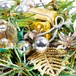 New year composition with golden ribbon and balls — Stock Photo