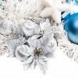 New year composition with white tinsel silver and blue balls — Stock Photo