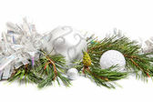 Fir tree evergreen branch with new year decorations — Stock Photo