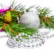 Stock Photo: Christmas holiday fir tree branch with silver decorations