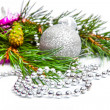 Christmas holiday fir tree branch with silver decorations — Stock Photo