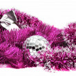 Pink Christmas tinsel with silver ball and bow — Stock Photo