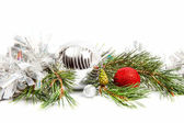 Christmas holiday composition with balls and fir branch — Stock Photo