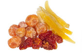 Dried fruits composition isolated on white — Stock Photo