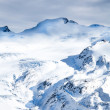 Winter snow hills landscape in light blue colors — Stock Photo
