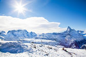 Winter swiss landscape on Switzerland hills with mountain Matter — Stock Photo