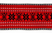 Ukrainian traditional red and black ornament embroidery — Stock Photo