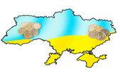 Different coins on ukrainian map concept — Foto Stock