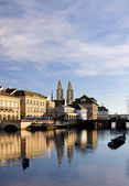Zurich old city reflecting in the river — Stock Photo