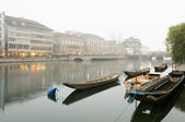 Boats along the river Limmat, Zurich. — Stock Photo