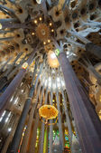 Sagrada Familia cathedral interior architecture — Stock Photo