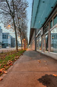 Commercial buildings at evening — Stock Photo