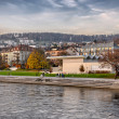 Watercolor painting of Zurich river banks — Stock Photo #46837855