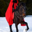 Beautiful woman with red cloak with horse outdoor in winter — Stock Photo #42276425